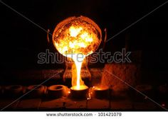 Foundry - molten metal poured from ladle - stock photo Steel Image, Steel Stock, Steel Mill, Light Bulb, Royalty Free Stock Photos, It Cast, Industrial, Metal, Pictures