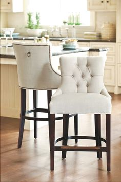 Uptown Kitchen With Breakfast Bar & Stools Kitchen Counter Chairs, Bar Counter, White Leather Bar Stools, Breakfast Bar Chairs, Breakfast Time, Console Design, Upholstered Bar Stools, Stools With Backs, Chaise Bar