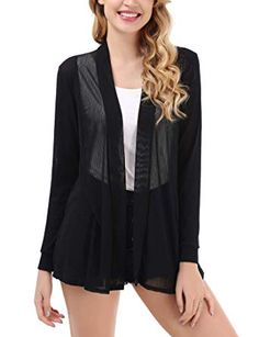 OSTELY Womens Casual Solid Long Sleeve Open Front Breathable Cardigans Shirt Tops Blouse