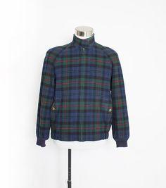 Vintage PENDLETON Jacket - MEN'S Blue Plaid Wool 1990s - Medium