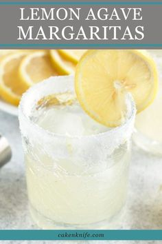 Lemon Agave Margarita - Cake 'n Knife Lemon Drink, Margarita Recipes, Tequila Drinks, Alcoholic Drinks, Beverages, Frozen Margaritas, Happy Hour, Agaves