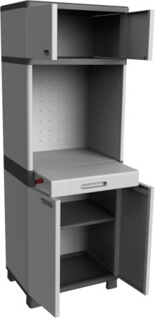 this was a project made for the company Keter, outdoor and home storage solutions.  they asked for new ideas for an indoor storage closet.     my concept was to create an indoor storage that can be a workstation at the same time. there are situations you can save time and space. if its for folding laundry or in the garage if you need place to work and many more situations.