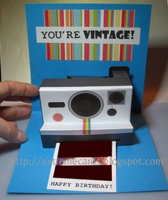 Polaroid Camera Pop Up Birthday Card (with printable template)