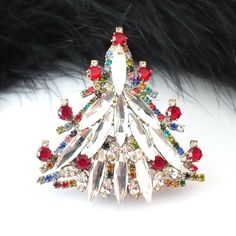 "Unique Czech Rhinestone Christmas Tree Pin - #647 - 2 2/10"" height"