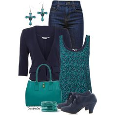 """Navy & Turquoise"" by sassafrasgal on Polyvore"