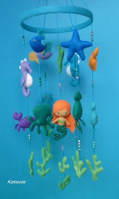 Felt mobile with mermaid and marine animals. by Kosucas on Etsy Baby Mobile Felt, Felt Baby, Seashell Mobile, Felt Fish, Under The Sea Theme, Hanging Mobile, Mermaids And Mermen, Felt Ornaments, Felt Animals