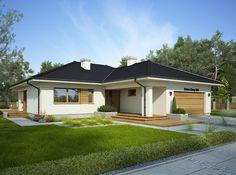 Projekt domu Oceania II 126,5 m2 - koszt budowy - EXTRADOM Model House Plan, Bungalow House Plans, Bungalow House Design, Dream House Plans, House Outside Design, Simple House Design, Modern House Design, Bungalow Exterior, Simple House Exterior