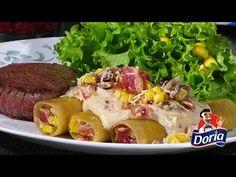 Canelones Doria rellenos de queso, tocineta, maíz y champiñones