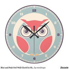 Blaue und rosa Eulen-Wanduhr für Kinder Uhr