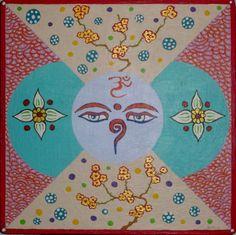 Mandala IX (Ojos de Buda). Acrílico sobre tabla  19x19cm  25€