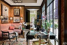 Mario Buatta ~ NEW YORK PENTHOUSE The card room is lined in a faux-tortoiseshell wall covering.
