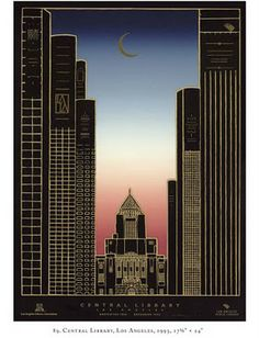David Lance Goines Art Deco Poster of Los Angeles Central Library