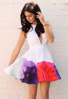Keyhole Detail Skater Dress with Floral Monet Watercolour Border Print in White, Pink, Purple & Mint - One Nation Clothing - One Nation Clothing - 1