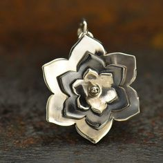Sterling Silver Three Layer Riveted Flower Flower Charm