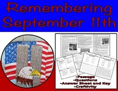 An informational text passage, followed by 8 Common Core multiple choice questions, followed by 1 Common Core short response question to be displayed on a September 11th foldable medallion.