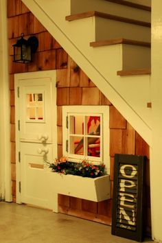 "I want bri to build this for hailey in our basement...........Playhouse under the stairs!  I think not...I'd like my Laz-y-boy recliner a 19"" TV with Dish and a blankey; we'll just call it mommy's little hideaway!"