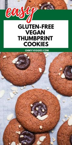 These vegan thumbprint cookies are so simple and fun to make in just 20 minutes! Soft, chewy cookies are adorned with a delicious chocolate center. Serve with a scoop of dairy-free ice cream for the ultimate deliciousness! Healthy Sweets, Healthy Dessert Recipes, Vegan Desserts, Whole Food Recipes, Big Chocolate, Delicious Chocolate, Vegan Chocolate, Dairy Free Ice Cream, Cookie Calories