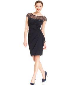 Xscape Dress, Cap-Sleeve Beaded - Dresses - Women - Macy's