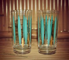 Mid century retro glasses set of 2 by ChristineSixteens on Etsy, $11.00
