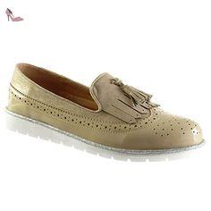 Angkorly - Chaussure Mode Mocassin slip-on bi-matière femme frange pom-pom perforée Talon compensé plateforme 2.5 CM - Beige - 236-1 T 39 - Chaussures angkorly (*Partner-Link)