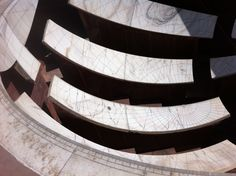The Jai Prakash Yantra astronomical instrument, Jantar Mantar Observatory, Jaipur. 1 March 2012. The position of shadow of the central iron ball (not in picture) fell apparently determined at what particular constellation the sun was located in at any given time, allowing the observer to pick the date. 17th and 18th-century AD.