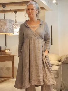 Les Ours Chloe Check Linen Wrap Dress