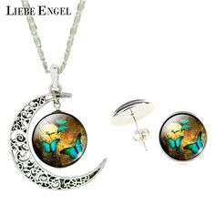 LIEBE ENGEL 2017 Vintage Silver Color Jewelry Sets 3 Butterfly Art Picture Collares Statement Necklace Earring For Women Gift