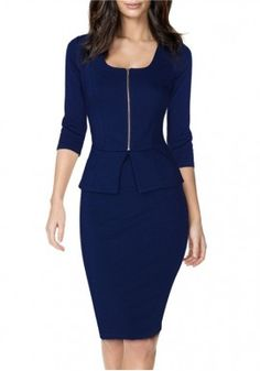 Maxfancy Fashion New Arrival America New Spring Sleeve Round Neck Pencil Dress