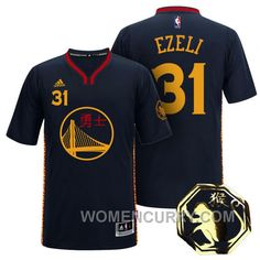 4b217c8d3e69 Festus Ezeli Golden State Warriors  31 2016 Chinese New Year Of Monkey Black  Sleeves Jersey For Sale
