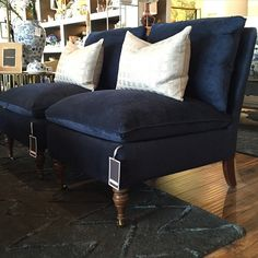 wonderland by alice lane. our luxe navy velvet slipper chair named Zondra. There's not a room in the house that she won't get along with! ~ Zondra Chair - $985 #foundinwonderland