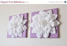 "MOTHERS DAY SALE Two Wall Flowers -White Dahlia on Lilac 12 x12"" Canvas Wall Art- Baby Nursery Wall Decor-"
