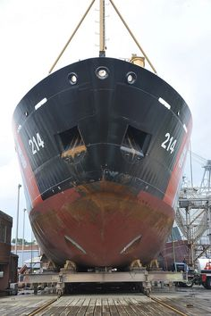 USCGC Hollyhock (WLB-214). In drydock for maintenance and repair.