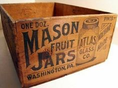 Vintage French Soul ~ Lots of Mason jars.for pickles of all sorts, tomatoes, peaches, beans,. Vintage Crates, Old Crates, Vintage Bottles, Vintage Box, Wooden Crates, Vintage Type, Old Wooden Boxes, Old Boxes, Antique Boxes