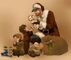 Bobby Claus is coming to town.. cas hugging Dean awww