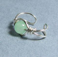 Sterling Silver Ear Cuff Green Aventurine gemstone