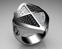 Unique Mens Ring Cross Shield Ring Sterling Silver with Black and White Diamonds By Proclamation Jewelry | Flickr - Photo Sharing!