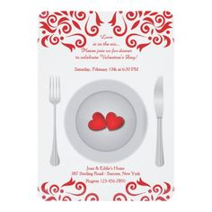 Hearts on a Plate Valentine's Day Invitation