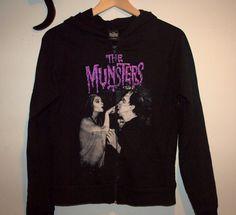 """""""The Munsters"""" Black Zipper Hoodie by KatzVintageShop"""
