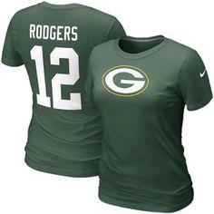 Nike Aaron Rodgers Green Bay Packers #12 Women's Replica Name & Number T-Shirt - Green #Fanatics