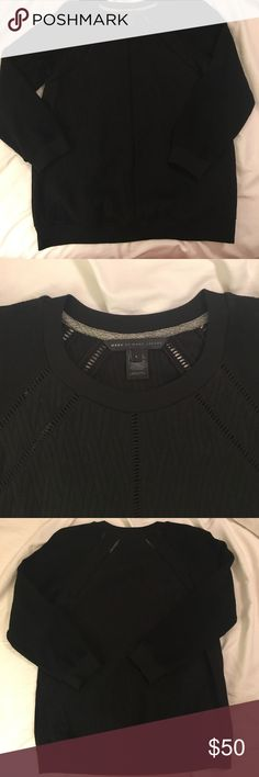 Marc By Marc Jacobs Black Crewneck Sweatshirt Adorable black sweatshirt. Body is quilted. Arms are terry cloth material. Marc by Marc Jacobs Tops Sweatshirts & Hoodies