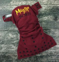 Embroidered cloth diaper / Little Beasties / snaps / one size pocket / adjustable elastic & leg gussets / Muggle born embroidery