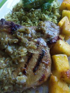 Grilled Jalapeño Garlic Chops with Mango and Pineapple Skewers| Hispanic Kitchen