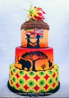 Zimbabwean themed wedding cake. I would change the Britsh Flag to a Bahraini flag