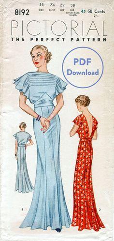 vintage sewing pattern 30s 1930s vintage gown wedding bridal evening or afternoon dress bust 34 PDF Download