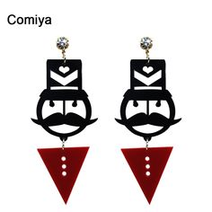 Comiya 새로운 디자인 보석 액세서리 아크릴 광대 매력 드롭 귀걸이 큰 긴 매달려 귀걸이 패턴 선물