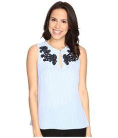 Ellen Tracy Peplum Back Top (Stripe Light Blue) Women's Clothing