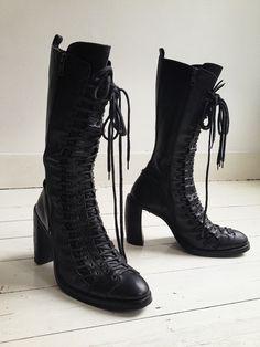 vintage Ann Demeulemeester black triple lace boots – fall 2008   shop at vaniitas.com