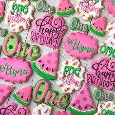 Watermelon Birthday Parties, 1st Birthday Party Themes, Baby Girl 1st Birthday, Birthday Fun, Birthday Ideas, Summer Birthday, Summer Cookies, Fun Cookies, Watermelon Sugar Cookies