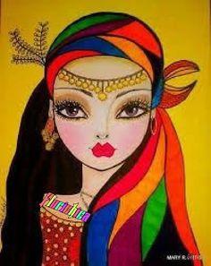 New Ideas For Illustration Art Girl Artists Mixed Media Art Pop, Art Africain, Indian Art Paintings, Eye Art, Whimsical Art, Fabric Painting, Tile Painting, Medium Art, African Art