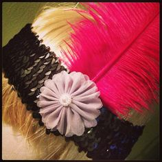 Black Sequin Flapper Headband w/ Hot Pink Ostrich Feather on Etsy, $16.00